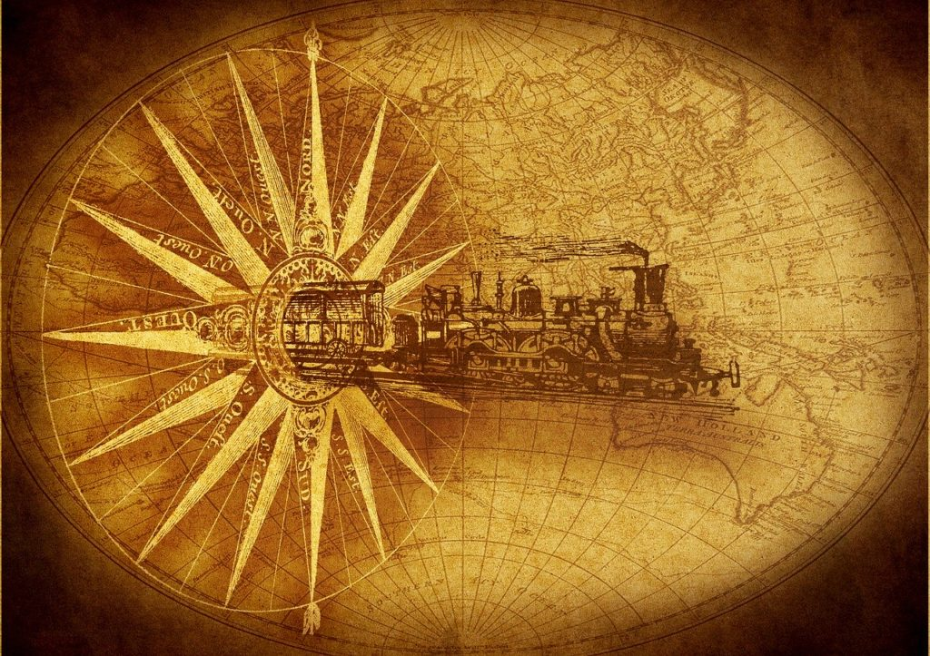 steam locomotive, compass, map of the world