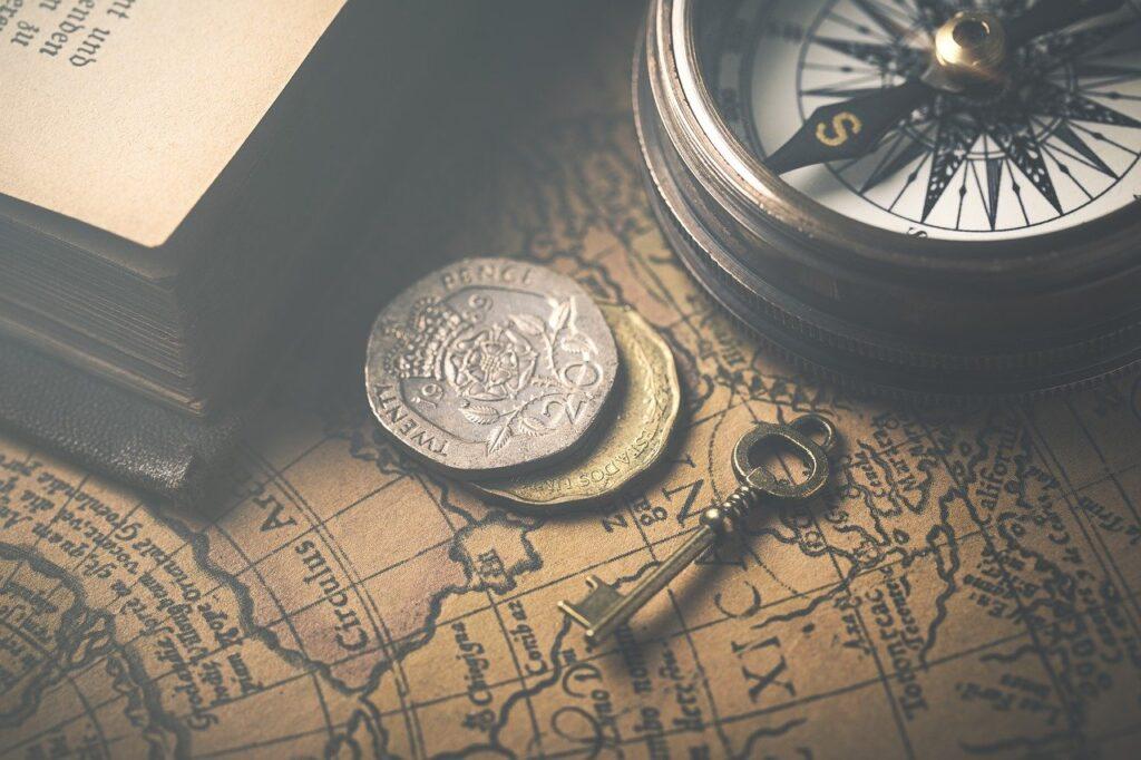 vintage, map, compass, identity